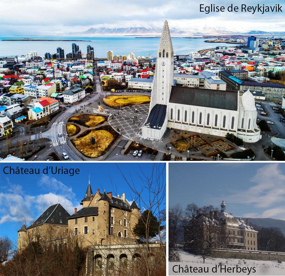 Jon Geirsson mes réalisations Charpentier Menuisier Eglise Reykjavik Château Uriage Château  Herbeys